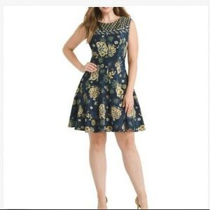 GabbySkye Paisley Floral Scuba Fit and Flare Dress